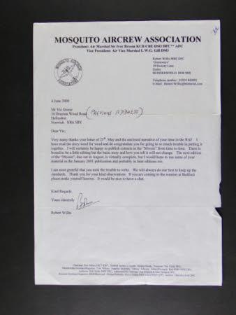 Letterhead, 'Mosquito Aircrew Association'