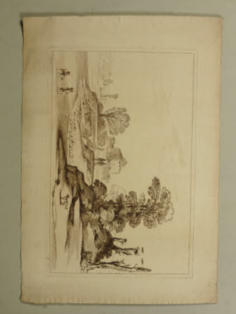Landscape with a couple wading across a river in the left foreground, a round building with a small ...