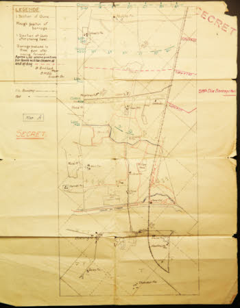 Secret Map of 38th Division Barragethus, near Boesinghe, Belgium.