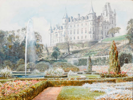 A watercolour of Dunrobin Castle.