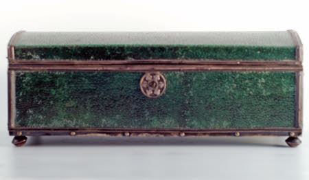 Shagreen and silver casket