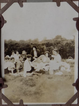 A group of children at a picnic at Polesden Lacey, Surrey