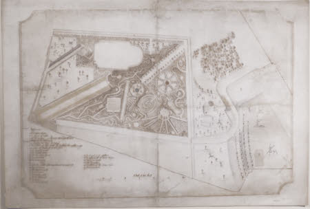 Survey drawing of the garden at Boringdon House, Devon