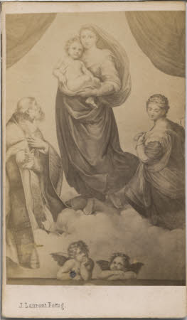 A photograph of an artwork depicting the virgin Mary carrying Jesus Christ upon a cloud