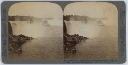 """General view of the Falls from the New Steel Bridge - """"Maid of the Mist"""" at landing - Niagara, USA"""