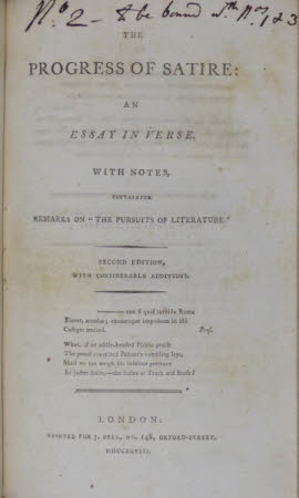 "The Progress of satire: . an essay in verse. With notes, containing remarks on ""the pursuits of ..."