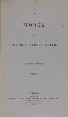 The works of the Rev. Sydney Smith. . In three volumes. ...