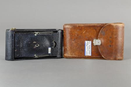 No.1A Folding Pocket Kodak Model C folding roll-film camera in brown leather case.