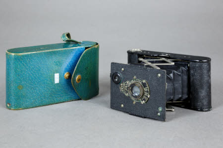 An Eastman Kodak Company Vest Pocket Autographic miniature folding roll-film camera in turquoise ...
