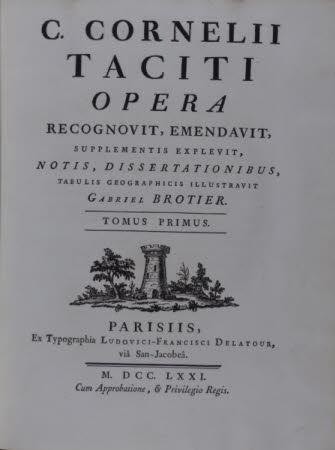 C. Cornelii Taciti opera . recognovit, emendavit, supplementis explevit, notis, dissertationibus, ...