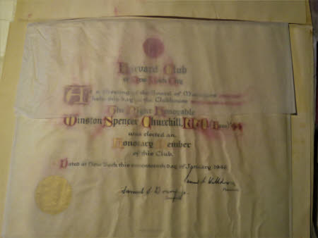 Election of WSC as Hon. member of the Harvard Club of New York City