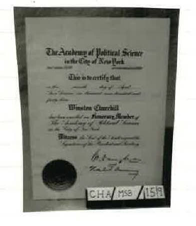 Certificate of enrolment Academy of Political Science New York