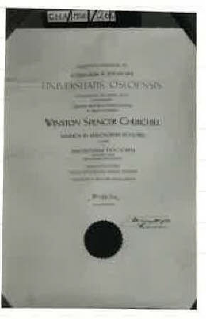 Awarded to WSC by Oslo University as Hon doctorate of Philosophy 1948