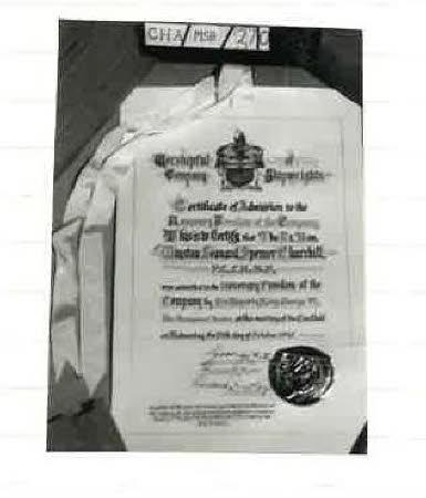 Admitting WSC to Worshipful Company of Shipwrights 1945
