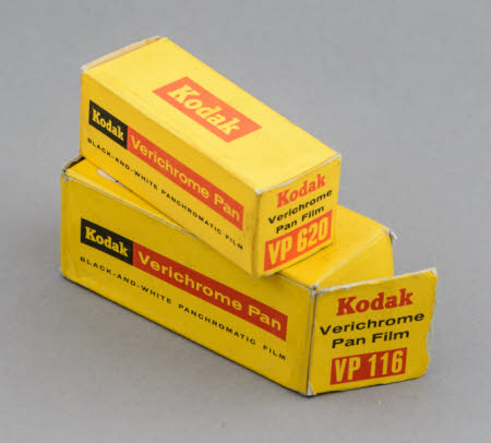 Eastman Kodak Verichrome Pan film cartridges VP116 and VP 620, unopened in original boxes.
