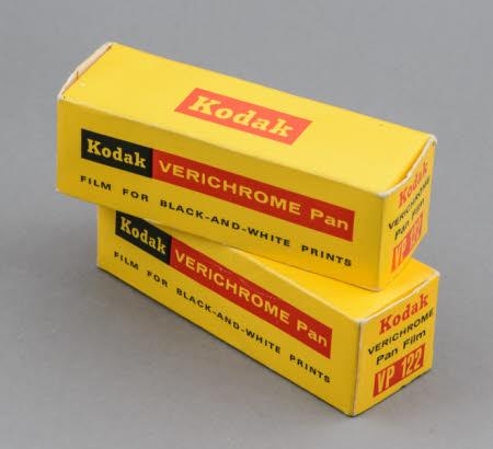 Kodak Verichrome Pan VP122 film for black-and-white prints; 2 unopened packs.