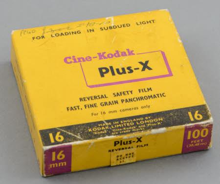 Box of Cine-Kodak Plus-X reversal panchromatic 16mm safety film.