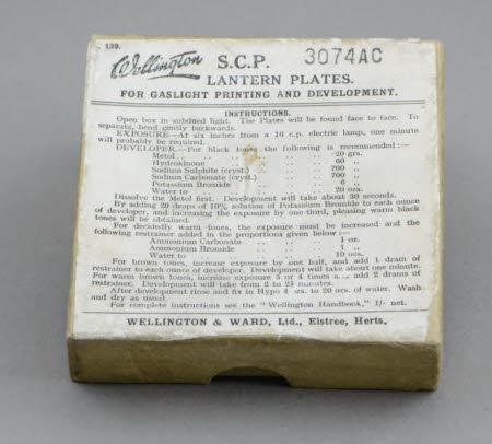 A cardboard box (empty) for Wellington S.C.P. Gaslight Lantern Plates
