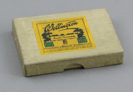 A cardboard box (empty) for Wellington Anti-Screen Plates.