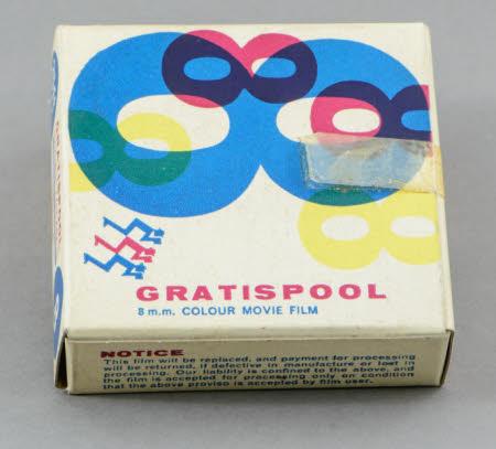 Gratispool 8mm colour movie film reel in original box.