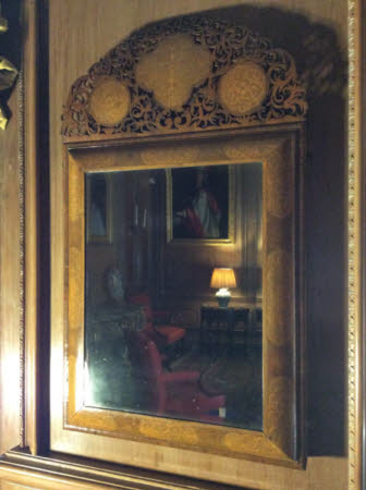 Pair of marquetry inlaid mirrors