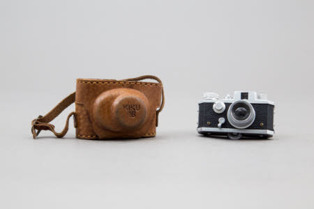 Kiku 16, model 2 sub-miniature camera in leather case.