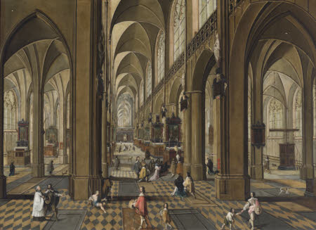 The Interior of the Cathedral of Our Lady, Antwerp, with Mass being Celebrated on One of the ...