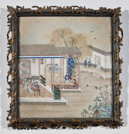 A pair of ladies playing weiqi inside a pavilion with other ladies and attendants nearby and pairs ...