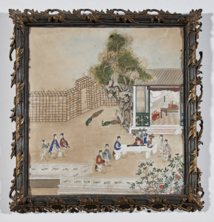 A lady playing a qin or seven-stringed zither in front of a pavilion, with other ladies listening ...