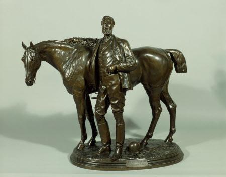 Adelbert Wellington Brownlow Cust, 3rd Earl Brownlow, GCVO, PC, MP (1844-1921) standing beside his ...