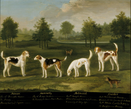 Two Couples of Hounds in a Park Landscape with two Terriers