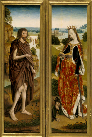 Diptych (?): Two Panels of St John the Baptist and St Catherine by the Master of the St. Lucy ...