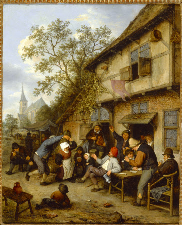 Peasants carousing outside, in front of an Inn