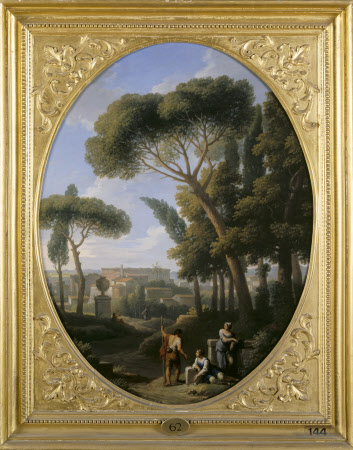 A Classical Landscape with a Traveller and Two Women conversing, a Town in the Distance