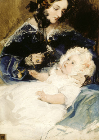 Lady Louisa Jane Russell, Duchess of Abercorn (1812-1905) with her Daughter Lady Harriet Georgiana ...