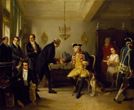 Amschel Mayer Rothschild (1773-1855) returning the Inventory of the Elector of Hessew who refuses ...