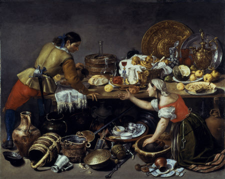 Two Figures at a Table with Kitchen Utensils