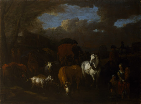 Figure, Animals and Wagons crossing a Stream
