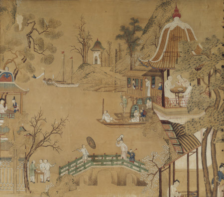 Collage of Chinese prints set into overmantel