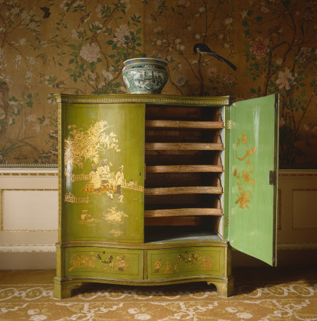 The Nostell Priory 'Cloaths Press very neatley Japan'd green and Gold' - 1771