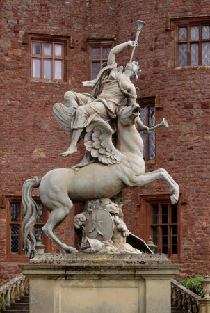 Fame borne aloft by the Winged Horse Pegasus