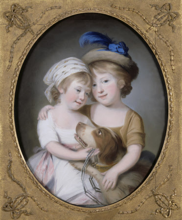 Simon Yorke II (1771-1834) and his sister Etheldred Yorke (1772-1796), as children, with a dog.