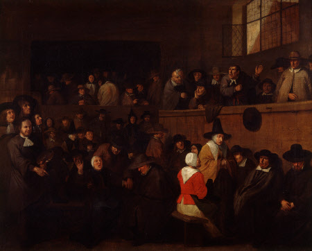 A Puritan Meeting, with a Self-portrait of Egbert Van Heemskerck (c.1635-1704)