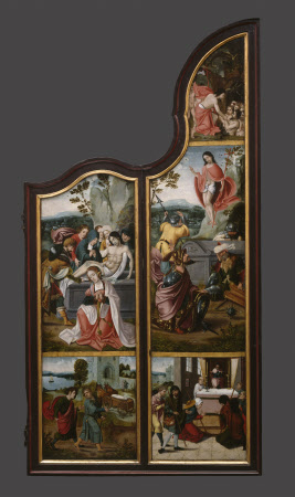 The Oxburgh Retable: Christ in Limbo (top); The Resurrection (middle); Pilgrims at an Altar begging ...