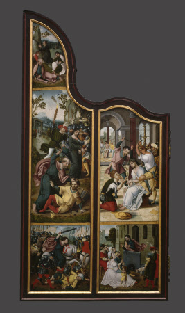 The Oxburgh Retable: The Agony in the Garden (top); The Arrest of Christ with Saint Peter cutting ...