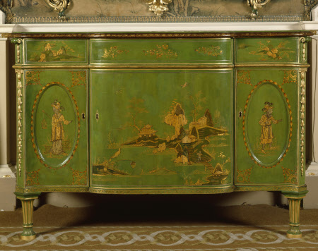 The Nostell Priory Commode table with foulding doors and drawers within Japan'd green and Gold - ...