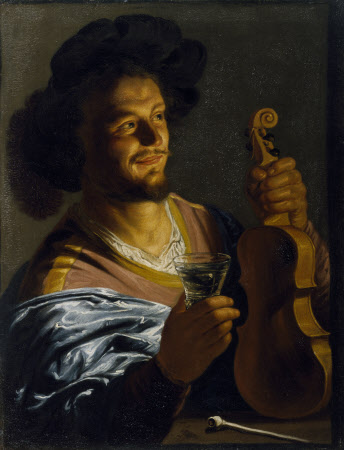 A Man with a Glass of Wine, Pipe and Fiddle
