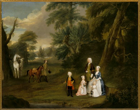 Outdoor Conversation Piece of Thomas Hill (Harwood) (1693-1782) and his First Family