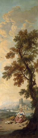 Landscape with Female Figure Seated beneath a Tall Tree in a River Landscape, her Dog Asleep