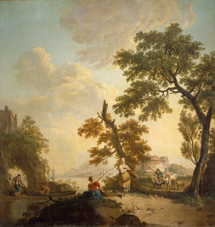 Landscape with Fishermen and Women and a City in the distance